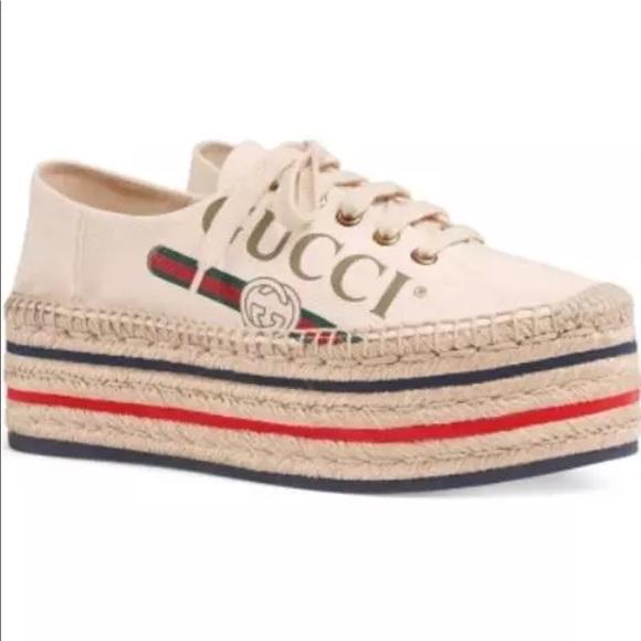 Gucci Shoes - Gucci Logo Women s Platform Espadrilles bc2ba83548